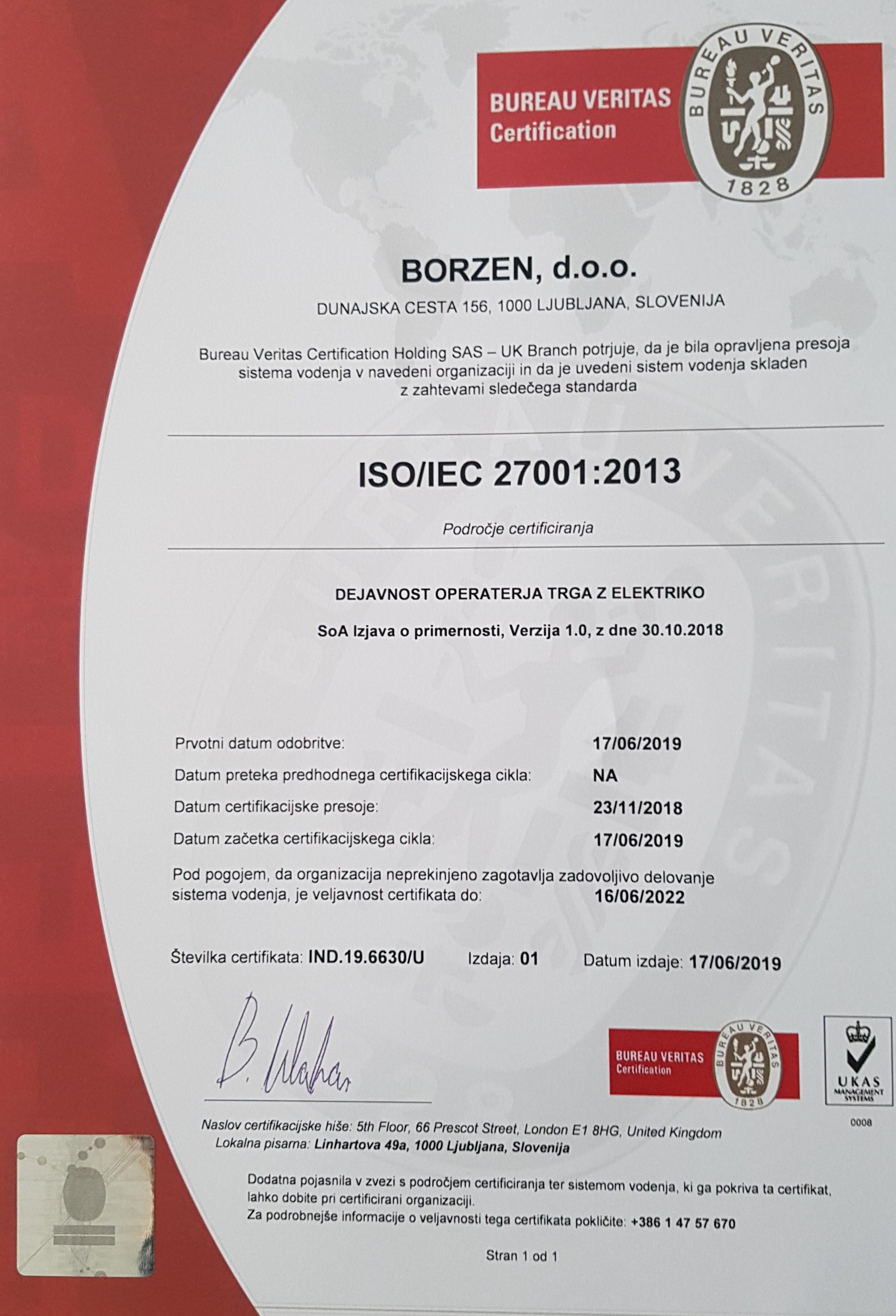 Borzen ISO 27000